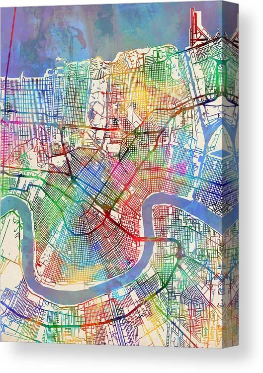 Street Map Canvas Print featuring the digital art New Orleans Street Map by Michael Tompsett