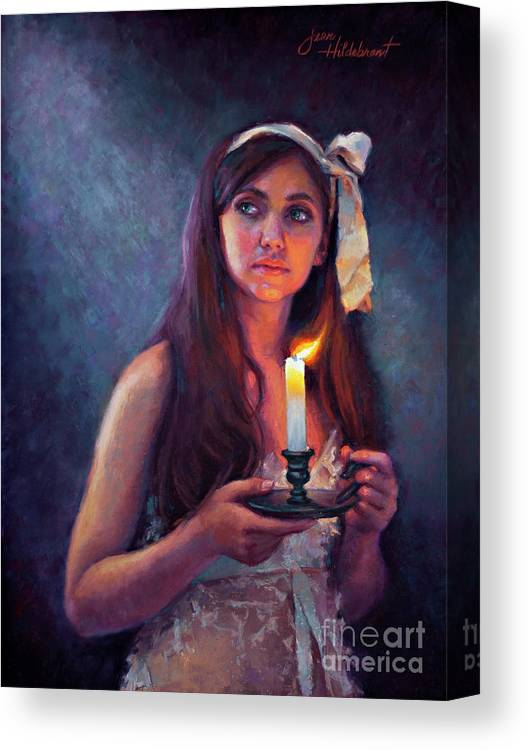 Pastel Canvas Print featuring the painting A Light Unto My Path by Jean Hildebrant