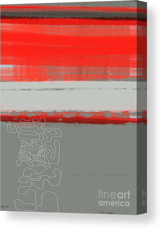 Abstract Canvas Print featuring the painting Abstract Red 1 by Naxart Studio