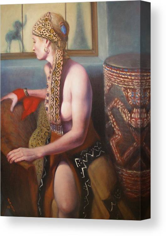 Realism Canvas Print featuring the painting African Drum 1 by Donelli DiMaria