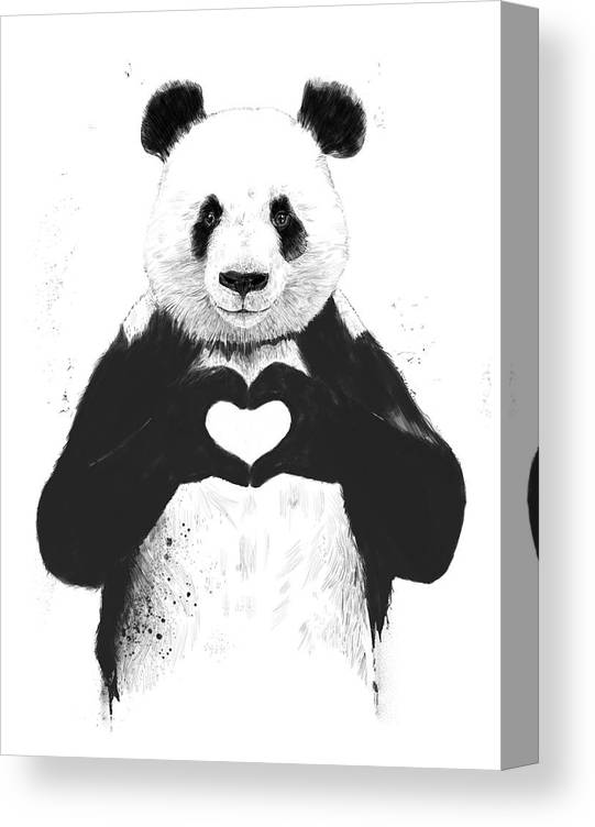 Panda Canvas Print featuring the painting All you need is love by Balazs Solti