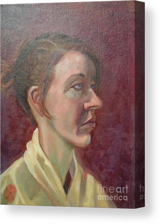 Girl Canvas Print featuring the painting Ami Portrait by Lilibeth Andre