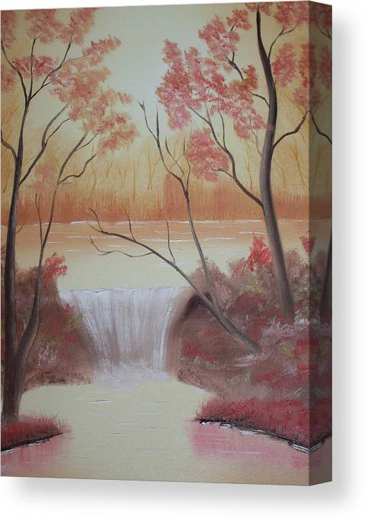 Oil Canvas Print featuring the painting Autumn At The Falls by Warren Thompson
