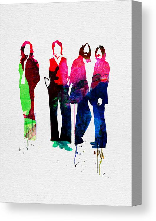 Beatles Canvas Print featuring the painting Beatles Watercolor by Naxart Studio