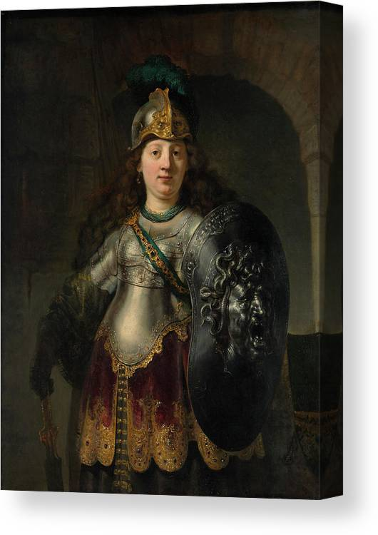 Bellona Canvas Print featuring the painting Bellona by Rembrandt Harmenszoon van Rijn