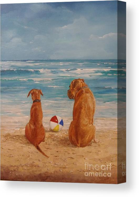 Beach Canvas Print featuring the painting Best Friends by Sinisa Saratlic