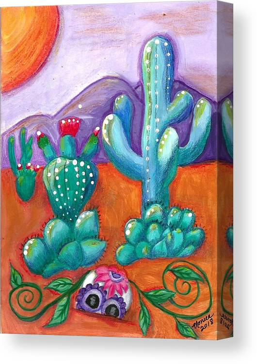 Sugar Skull Canvas Print featuring the painting Buried Sugar Skull In Desert by Monica Resinger