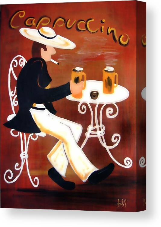 Cappuccino Canvas Print featuring the painting Cappuccino by Helmut Rottler