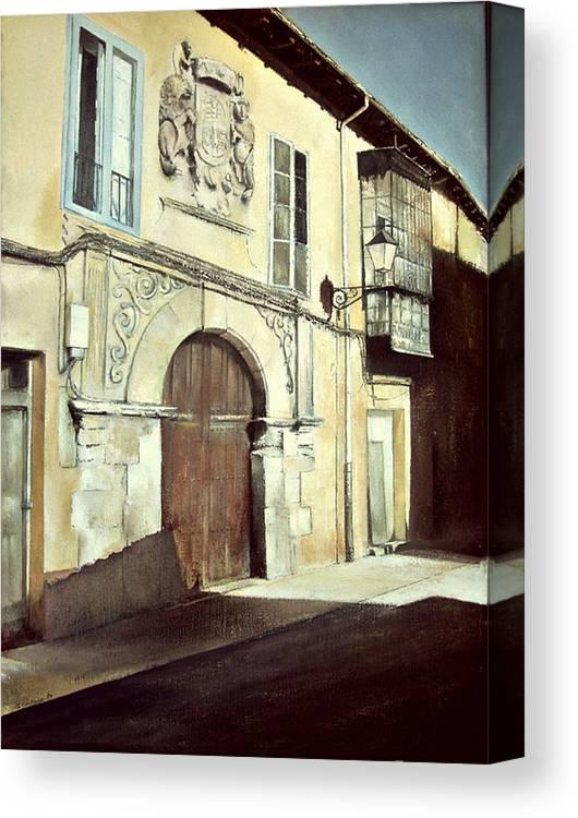 Casa Canvas Print featuring the painting Casa palaciega en calle Serranos-leon by Tomas Castano