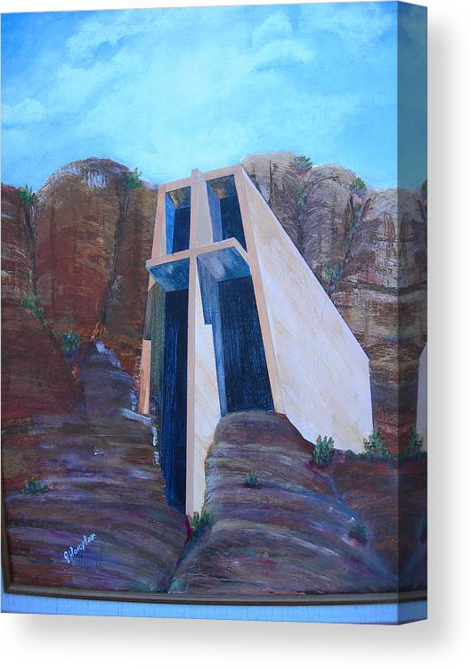 Landscape Canvas Print featuring the painting Chapel in the Mountains by Jack Hampton