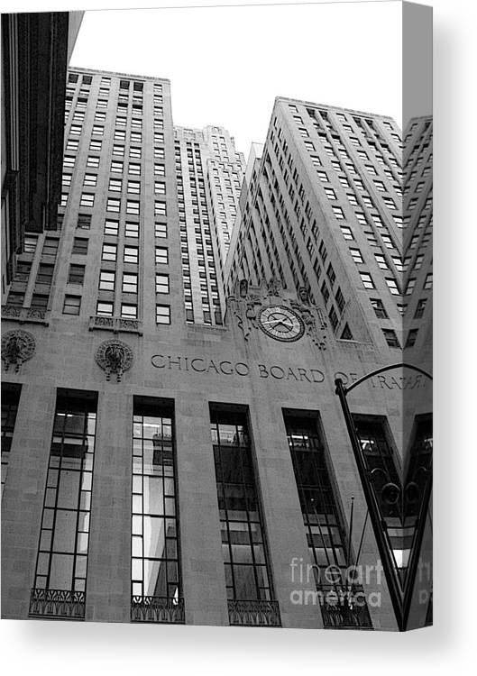 Black And White Canvas Print featuring the photograph Chicago Board of Trade by David Bearden