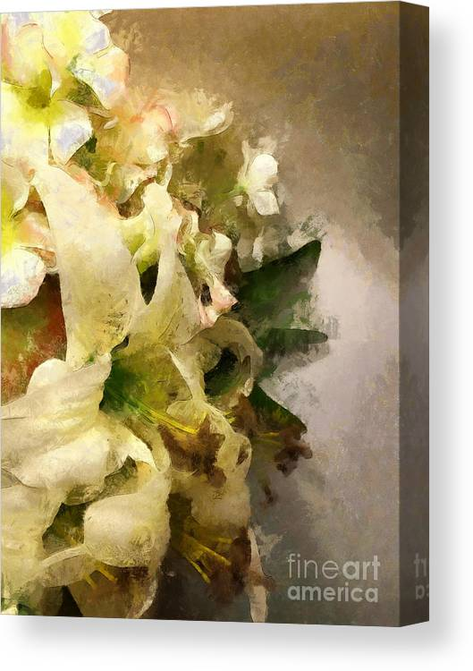 Lily Canvas Print featuring the photograph Christmas White Flowers by Claire Bull
