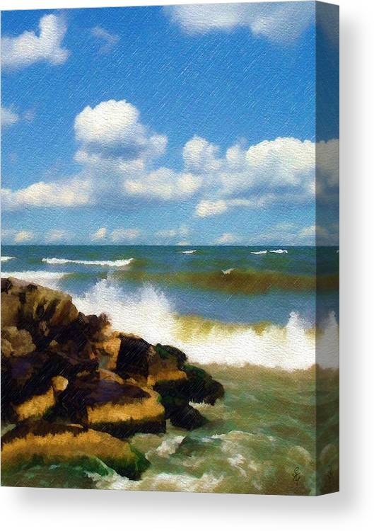 Seascape Canvas Print featuring the photograph Crashing Into Shore by Sandy MacGowan