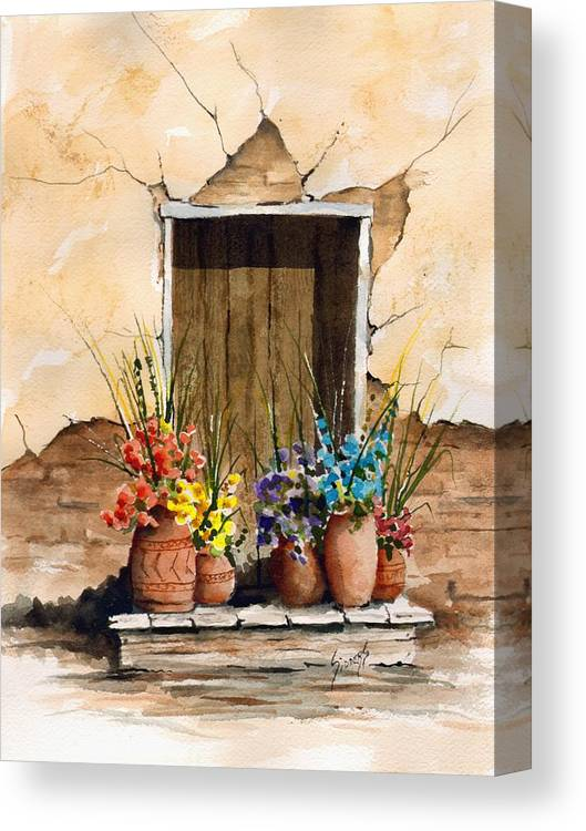 Door Canvas Print featuring the painting Door With Flower Pots by Sam Sidders