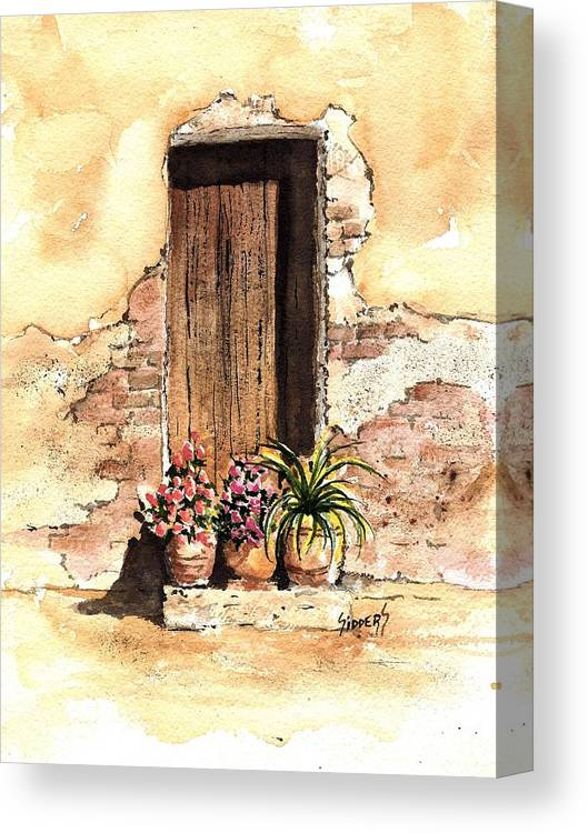 Door Canvas Print featuring the painting Door With Flowers by Sam Sidders