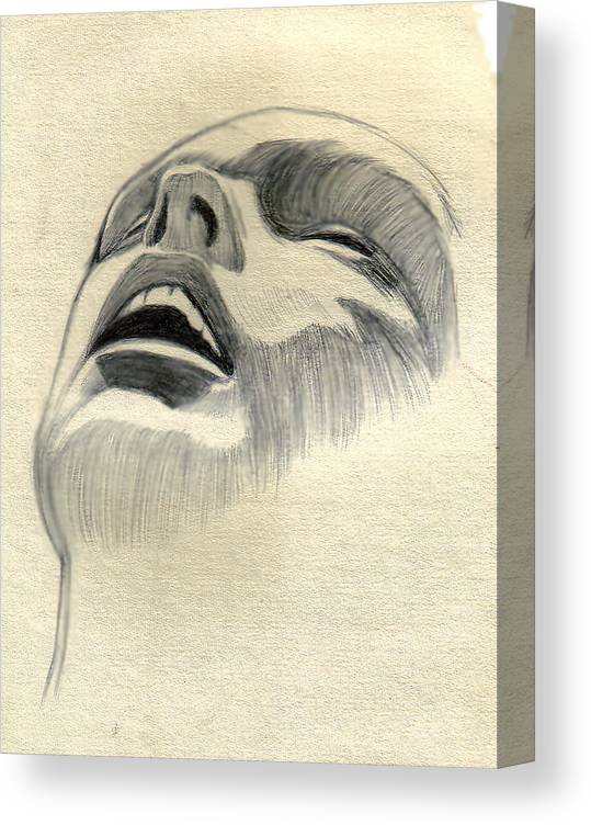 Drawing Canvas Print featuring the drawing Meditating by Marco Morales