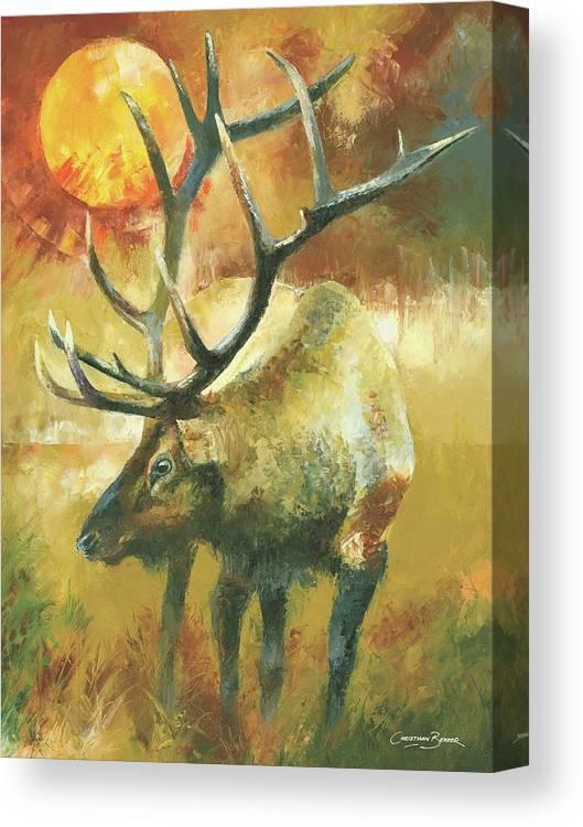 Elk Canvas Print featuring the painting Elk Deer Male with huge antlers by Christiaan Bekker