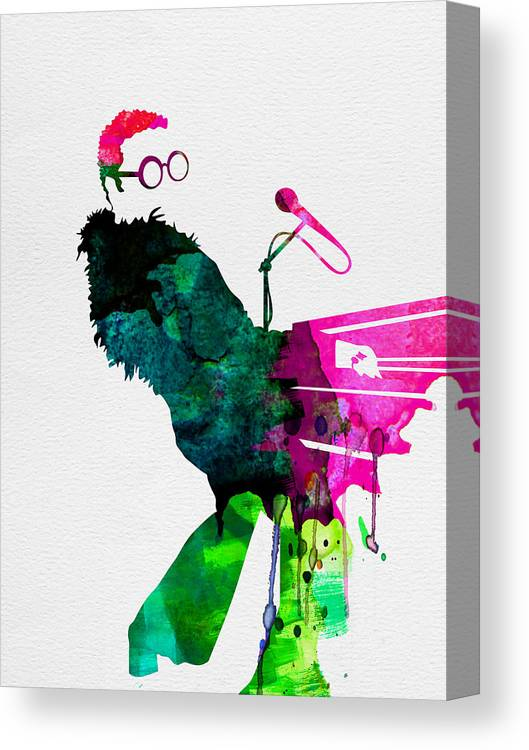 Elton Canvas Print featuring the painting Elton Watercolor by Naxart Studio