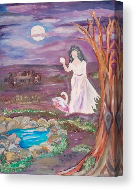 Woman Canvas Print featuring the painting Faceless Wishing Well by Mikki Alhart