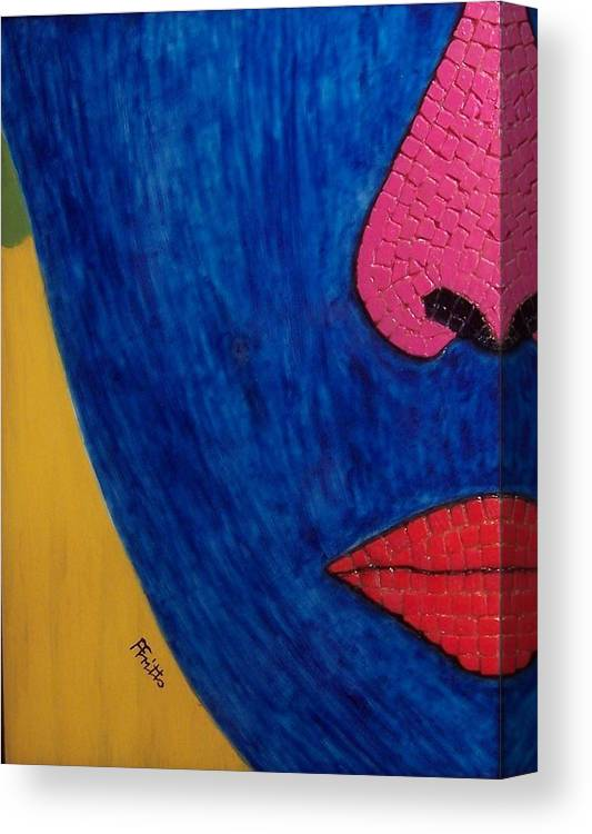 Mixed Media Canvas Print featuring the painting Faces of Eve III by Anneliese Fritts