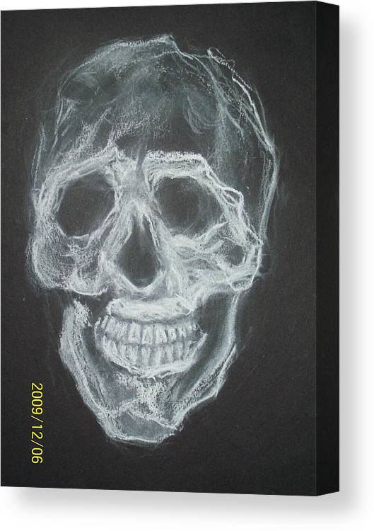 Skulls Canvas Print featuring the drawing First Skull Work by Nancy Caccioppo