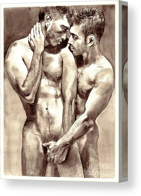 Love Canvas Print featuring the painting Gay Love watercolor by Suzann Sines