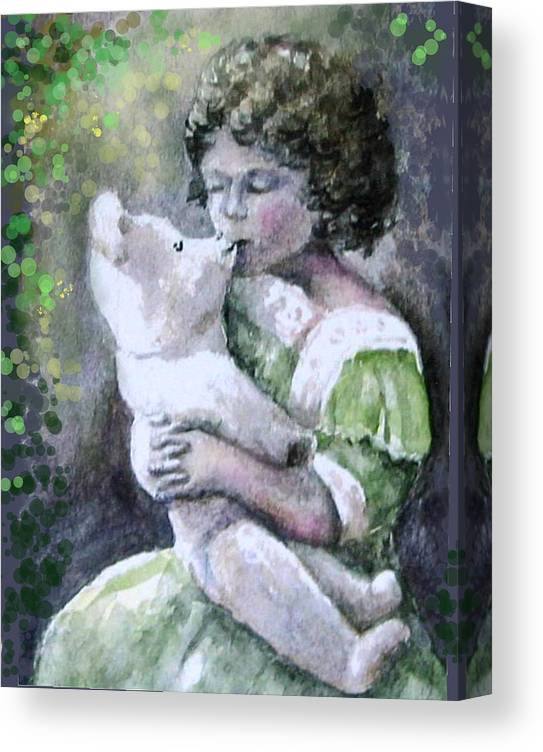 Girl Canvas Print featuring the painting Girtl And Teddy Bear by Natalja Picugina