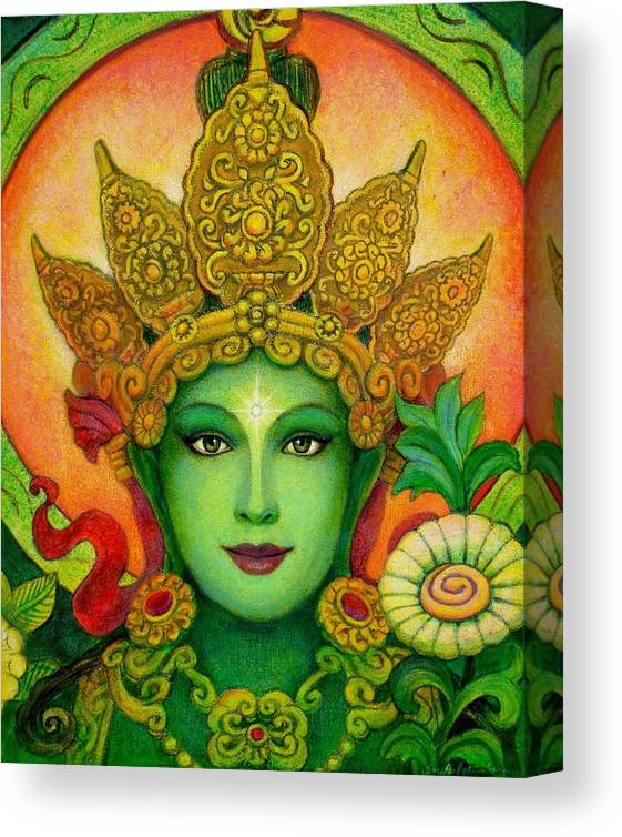 Goddess Canvas Print featuring the painting Goddess Green Tara's Face by Sue Halstenberg