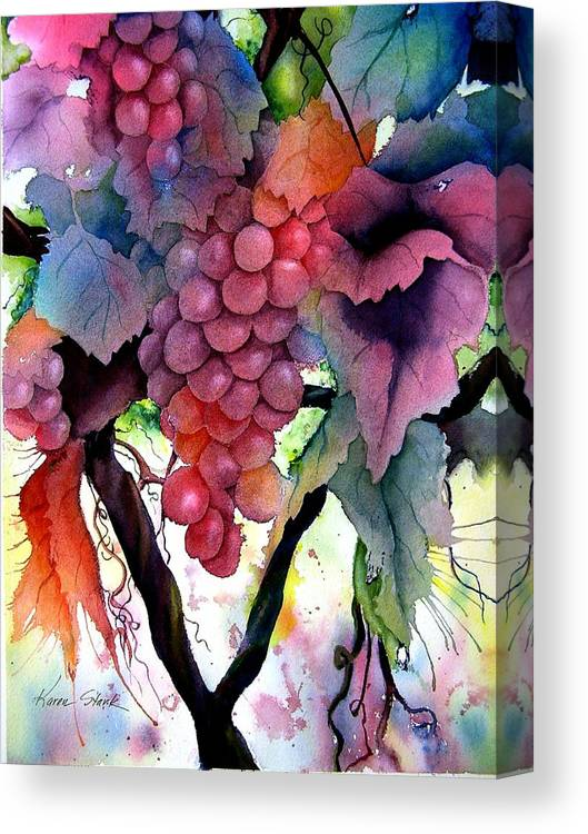 Grape Canvas Print featuring the painting Grapes III by Karen Stark