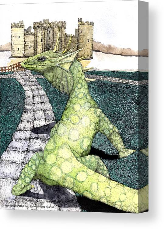 Dragon Moniter Lizard Dragon Draco Canvas Print featuring the mixed media Green dragon by Preston Shupp