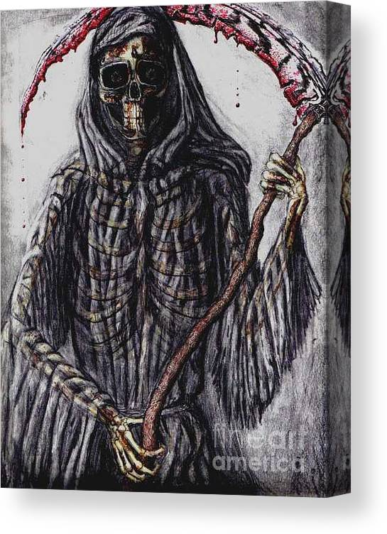 Grim Reaper Canvas Print featuring the drawing Grim Reaper Colored by Katie Alfonsi