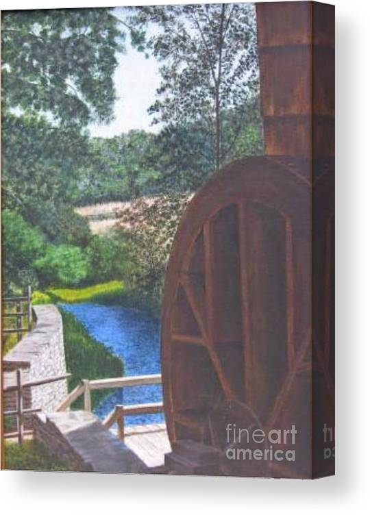 Painting Canvas Print featuring the painting Grist Mill by Donald Hofer