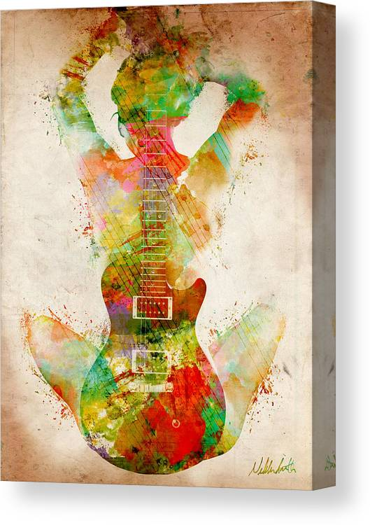 Guitar Canvas Print featuring the digital art Guitar Siren by Nikki Smith