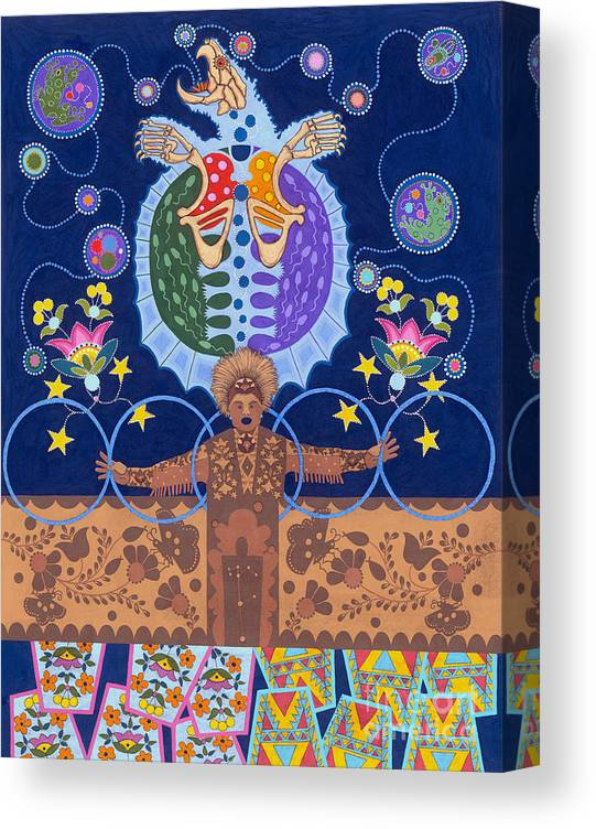 Native American Canvas Print featuring the painting Healing - nanatawihowin by Chholing Taha