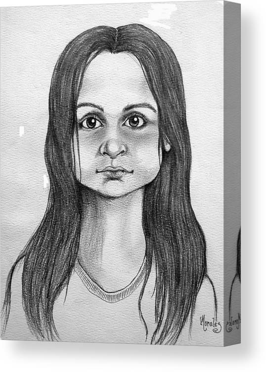 Portrait Canvas Print featuring the drawing Immigrant Girl by Marco Morales
