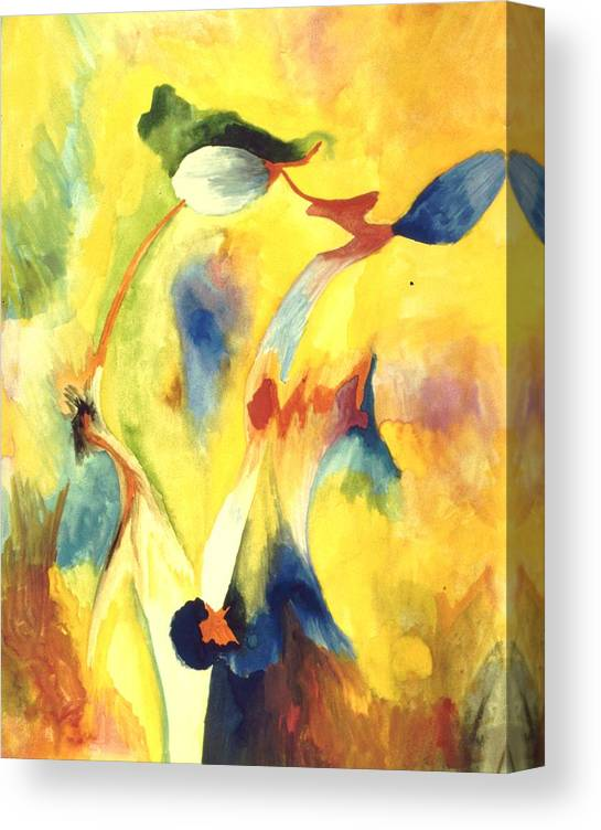 Abstract Canvas Print featuring the painting Interactions by Peter Shor