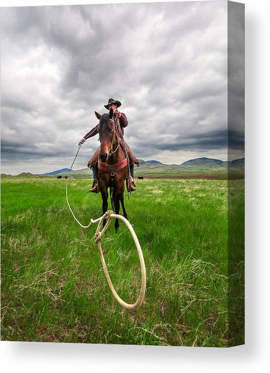 Cowboy Canvas Print featuring the photograph Invisible Calf by Todd Klassy