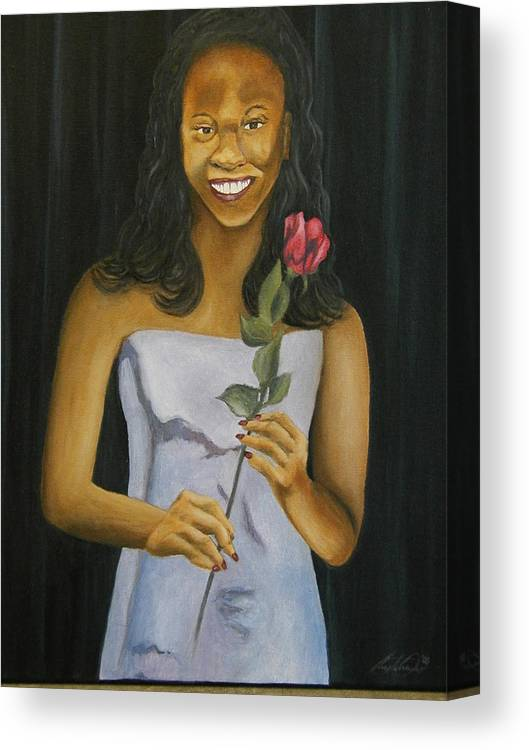 Portrait Canvas Print featuring the painting Joell by Angelo Thomas