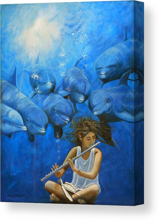 Flautista Canvas Print featuring the painting La flautista by Angel Ortiz
