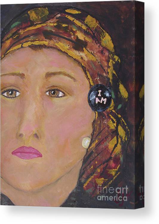 Women Canvas Print featuring the painting Lady in Head Scarf by Shelley Jones
