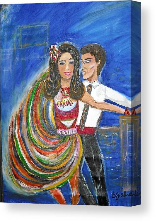 Dancers Canvas Print featuring the painting Latin Dancers 11 by BJ Abrams