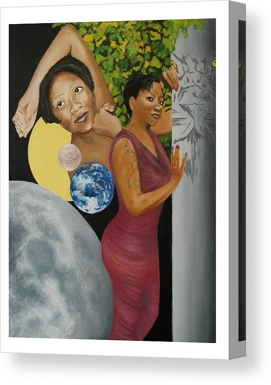 Portrait Canvas Print featuring the painting Leo Queen Tiffany by Angelo Thomas