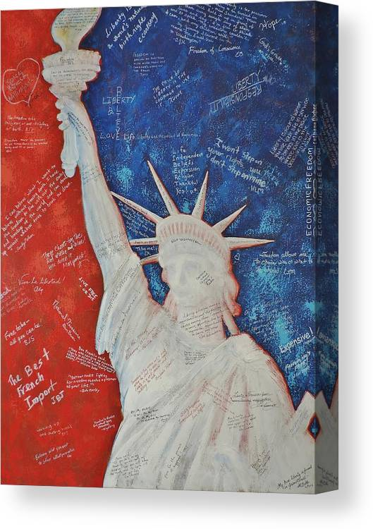 Statue Of Liberty Canvas Print featuring the painting Liberty Is... by Margaret Bobb