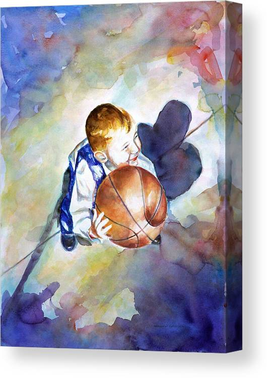 Watercolor Canvas Print featuring the painting Loves the Game by Shannon Grissom