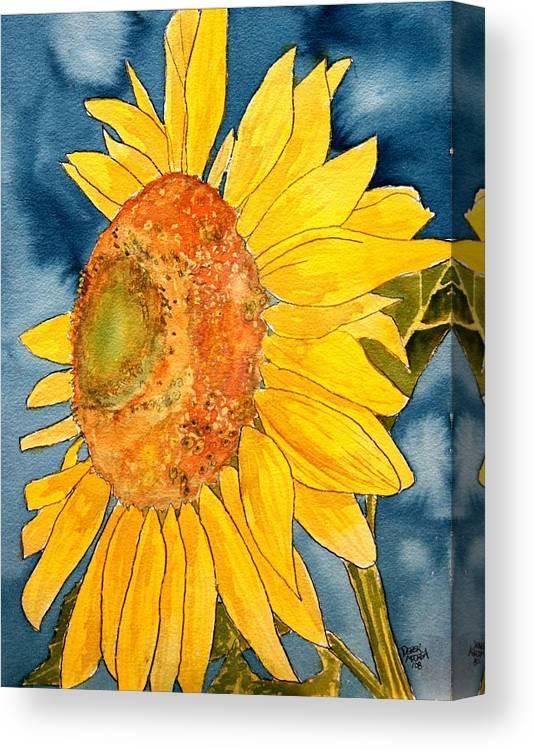 Sunflower Canvas Print featuring the painting Macro Sunflower Art by Derek Mccrea