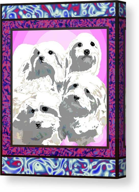 Maltese Group Canvas Print featuring the digital art Maltese Group by Kathleen Sepulveda