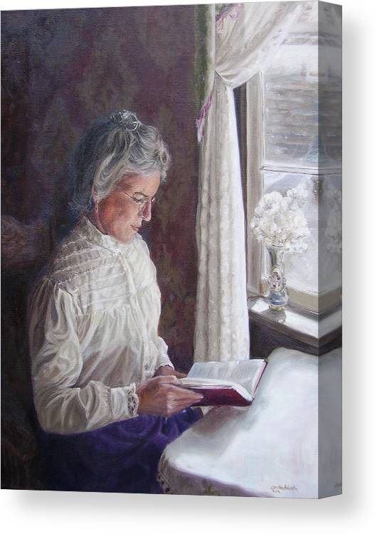 Barkerville Canvas Print featuring the painting Miss Wendle-Barkerville by Tahirih Goffic
