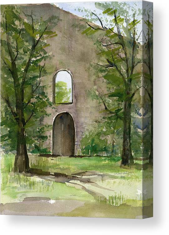 Mission Canvas Print featuring the painting Mission Wall by Arline Wagner