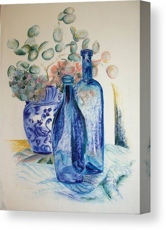 Still Life Canvas Print featuring the drawing Monnaie Bleue by Muriel Dolemieux