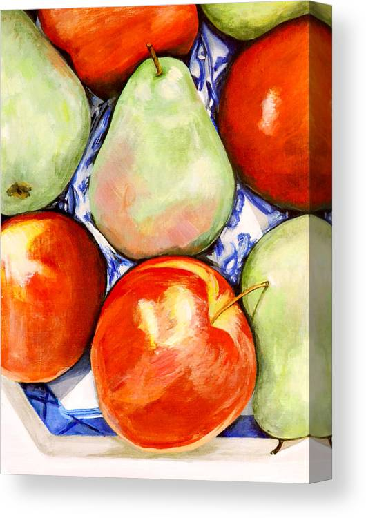 Apples Canvas Print featuring the painting Morning Pears and Apples by Mary Chant